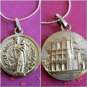 Vintage Notre Dame Cathedral medal necklace